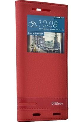 Case Street HTC One M9 Plus Kılıf Elite Gizli Mıknatıslı Kapaklı+Nano Glass Kırmızı