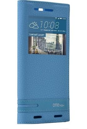 Case Street HTC One M9 Plus Kılıf Elite Gizli Mıknatıslı Kapaklı+Nano Glass Turkuaz