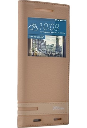 Case Street HTC One M9 Plus Kılıf Elite Gizli Mıknatıslı Kapaklı+Nano+Kalem Gold