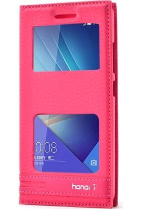 Case Street Huawei Honor 7 Kılıf Elite Gizli Mıknatıslı Kılıf+Nano+Kalem Pembe