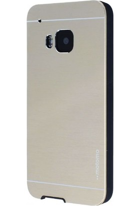 Case Street HTC One M9 Kılıf Metal Motomo Arka Kapak+Nano Glass Gold