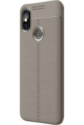 Case Street Xiaomi Mi 8 Kılıf Niss Silikon Deri Dokuma+Nano Glass Koruyucu Bej