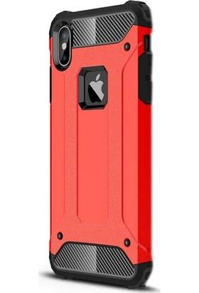 Case Street Apple iPhone XS Max Kılıf Crash Tank Çift Katman+Nano Glass Kırmızı