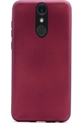 Case Street LG Q7 Plus Kılıf Premier Esnek Lüx Silikon + Nano Glass Mürdüm