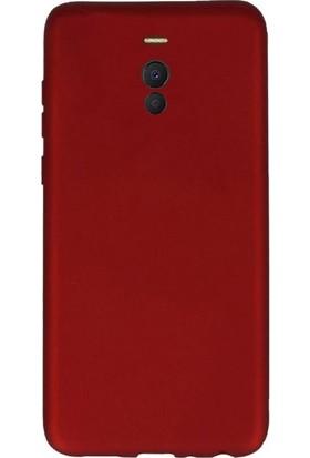 Case Street Meizu M6 Note Kılıf Premier Silikon Arka Koruma+Nano Glass Kırmızı