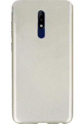 Case Street Nokia 5.1 Kılıfları Kılıf Premier Silikon Arka Koruma+Nano Glass Gold