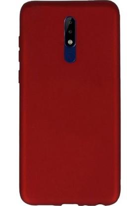 Case Street Nokia 5.1 Kılıfları Kılıf Premier Silikon Arka Koruma+Nano Glass Kırmızı