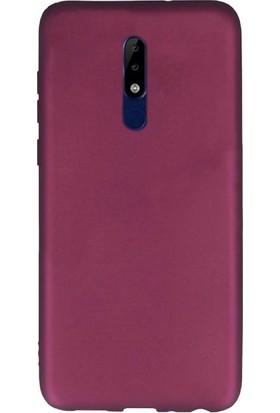 Case Street Nokia 5.1 Kılıfları Kılıf Premier Silikon Arka Koruma+Nano Glass Mürdüm