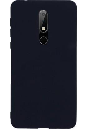 Case Street Nokia 7.1 Kılıfları Kılıf Premier Silikon Koruma+Nano Glass Siyah