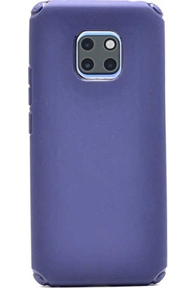 Case Street Huawei Mate 20 Pro Kılıf Stop Silikon + Nano Glass Lacivert