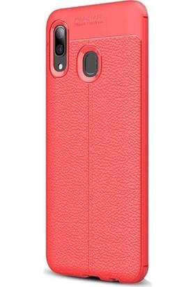 Case Street Huawei Honor 8c Kılıf Niss Silikon Deri Görünümlü+Nano Glass Kırmızı
