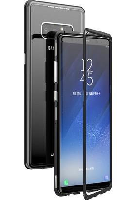 Kılıfroom Samsung Galaxy Note 8 Mıknatıslı Metal Çerçeveli 360 Derece Kapak Tam Koruma Arkası Cam Koruma Kılıf