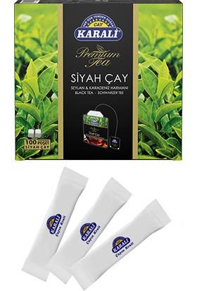 Karali Premium Bardak Poşet Siyah Çay 100'lü + 100 Adet Stick Şeker