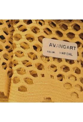Caserta Home Lüx Avangart Hardal 1/2 Seyrek Pileli File Tül Perde - 50x100 cm