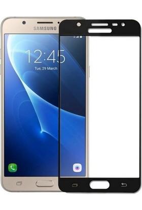 Ehr. Samsung Galaxy J5 2016 5D Full Nano Ekran Koruyucu Cam Siyah + Şeffaf Silikon Kılıf