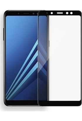 Ehr. Samsung Galaxy A8 2018 5D Full Nano Ekran Koruyucu Cam Siyah + Şeffaf Silikon Kılıf