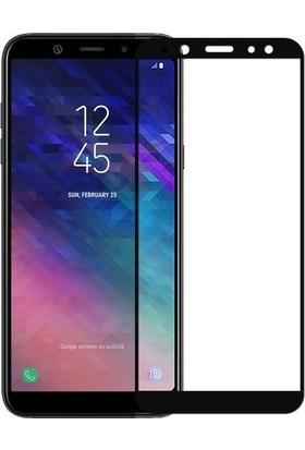 Ehr. Samsung Galaxy A6 Plus 2018 5D Full Nano Ekran Koruyucu Cam Siyah + Şeffaf Silikon Kılıf