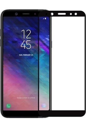 Ehr. Samsung Galaxy J4 Plus 5D Full Nano Ekran Koruyucu Cam Siyah + Şeffaf Silikon Kılıf