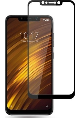 Ehr. Xiaomi Pocophone F1 5D Full Nano Ekran Koruyucu Cam + Siyah Silikon Kılıf