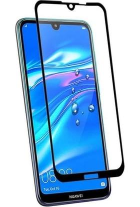 Ehr. Huawei Y7 2019 5D Full Nano Ekran Koruyucu Cam + Deri Silikon Kılıf - Siyah