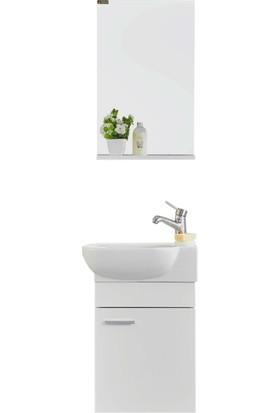 Gold Ban-yom Oliy 50 cm Banyo Dolabı + Ayna Ünitesi + Seramik Lavabo
