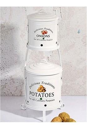 Getto Store 2 Katlı Patates Soğan Kovası (Beyaz) Zd-000-B