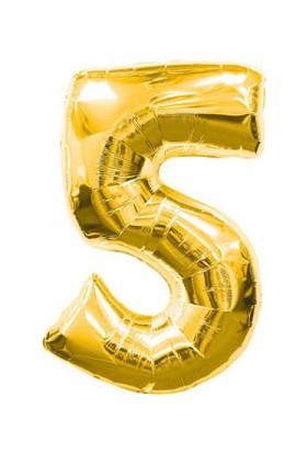Parti Denizim 5 Rakamı 100 cm 40INC Folyo Balon Altın Parti Denizim