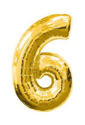 Parti Denizim 6 Rakamı 100 cm 40INC Folyo Balon Altın Parti Denizim