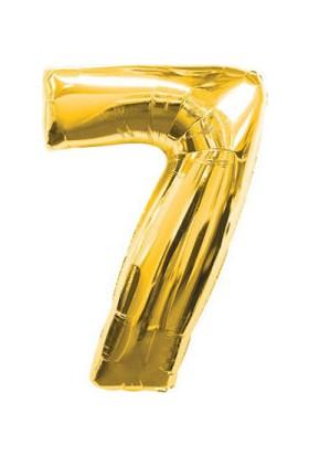 Parti Denizim 7 Rakamı 100 cm 40INC Folyo Balon Altın Parti Denizim