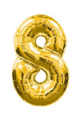 Parti Denizim 8 Rakamı 100 cm 40INC Folyo Balon Altın Parti Denizim