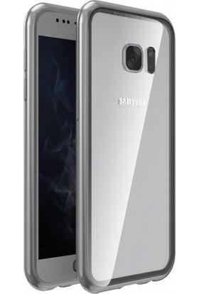 Casestore Samsung Galaxy S7 Edge Metalink Ultra Lüx Mıknatıslı 360 Kılıf Gri