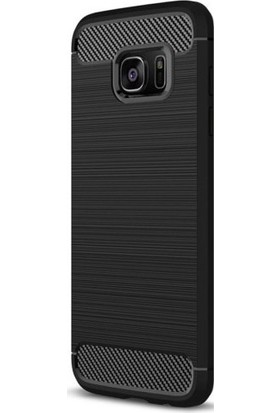 Casestore Samsung Galaxy S7 Edge Carbon Brushed Soft TPU Silikon Kılıf Siyah