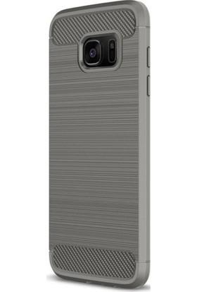 Casestore Samsung Galaxy S7 Edge Carbon Görünümlü TPU Silikon Kılıf Gri + Nano Ekran Koruyucu