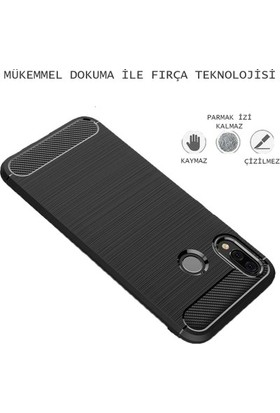 Casestore Apple iPhone XS Carbon Brushed Soft TPU Silikon Kılıf Siyah + Nano Ekran Koruyucu