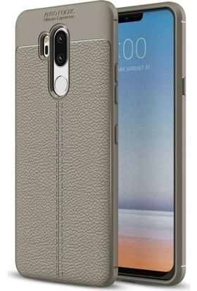 Casestore LG G7 Auto Focus Deri Görünümlü Silikon Kılıf Gri