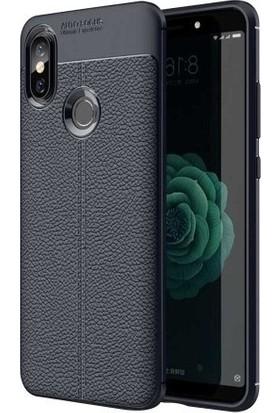 Casestore Xiaomi Redmi S2 Auto Focus Deri Görünümlü Silikon Kılıf Lacivert + Nano Ekran Koruyucu