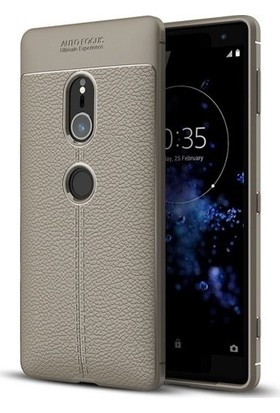 Casestore Sony Xperia XZ2 Missing Deri Leather TPU Silikon Kılıf Gri + Nano Ekran Koruyucu