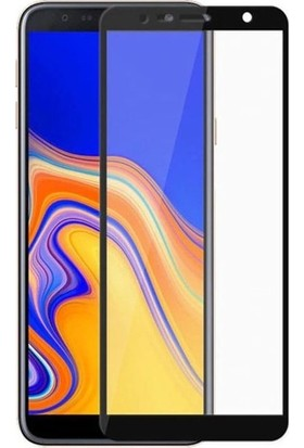 Casestore Samsung Galaxy J4 Plus Ultra Lüx Tam Kaplayan 3D Ekran Koruyucu Cam Siyah + Şeffaf Silikon Kılıf