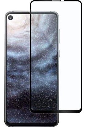 Casestore Samsung Galaxy A8S Ultra Lüx Tam Kaplayan 3D Ekran Koruyucu Cam Siyah + Şeffaf Silikon Kılıf