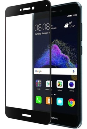 Casestore Huawei P9 Lite 2017 Ultra Lüx Tam Kaplayan 3D Ekran Koruyucu Cam Siyah + Şeffaf Silikon Kılıf