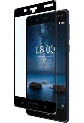 Casestore Nokia 8 Ultra Lüx Tam Kaplayan 3D Ekran Koruyucu Cam Siyah + Şeffaf Silikon Kılıf