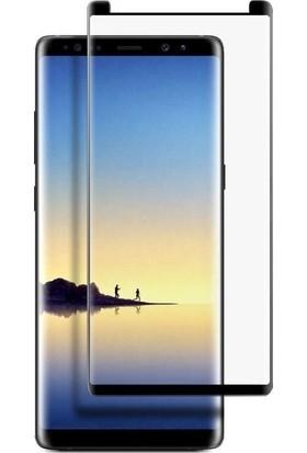 Casestore Samsung Galaxy Note 8 Ultra Lüx Tam Kaplayan 3D Ekran Koruyucu Cam Siyah + Deri Silikon Kılıf