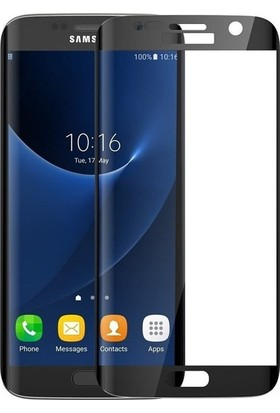Casestore Samsung Galaxy S6 Edge Plus Ultra Lüx Tam Kaplayan 3D Ekran Koruyucu Cam Siyah + Siyah Silikon Kılıf
