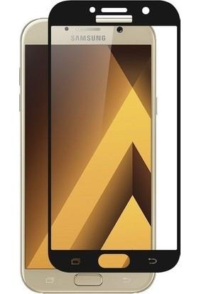 Casestore Samsung Galaxy A3 2017 Ultra Lüx Tam Kaplayan 3D Ekran Koruyucu Cam Siyah + Siyah Silikon Kılıf