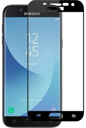 Casestore Samsung Galaxy J5 Pro Ultra Lüx Tam Kaplayan 3D Ekran Koruyucu Cam Siyah + Deri Silikon Kılıf