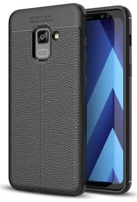 Casestore Samsung Galaxy A8 2018 Ultra Lüx Tam Kaplayan 3D Ekran Koruyucu Cam Siyah + Deri Silikon Kılıf