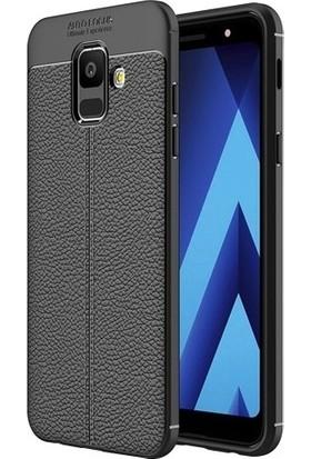 Casestore Samsung Galaxy A6 2018 Ultra Lüx Tam Kaplayan 3D Ekran Koruyucu Cam Siyah + Deri Silikon Kılıf