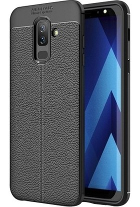 Casestore Samsung Galaxy A6 Plus 2018 Ultra Lüx Tam Kaplayan 3D Ekran Koruyucu Cam Siyah + Deri Silikon Kılıf