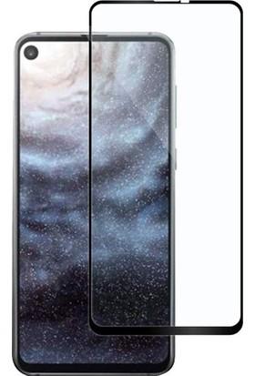 Casestore Samsung Galaxy A8S Ultra Lüx Tam Kaplayan 3D Ekran Koruyucu Cam Siyah + Siyah Silikon Kılıf