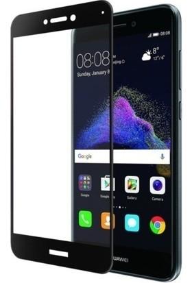 Casestore Huawei P9 Lite Mini 2017 Ultra Lüx Tam Kaplayan 3D Ekran Koruyucu Cam Siyah + Deri Silikon Kılıf